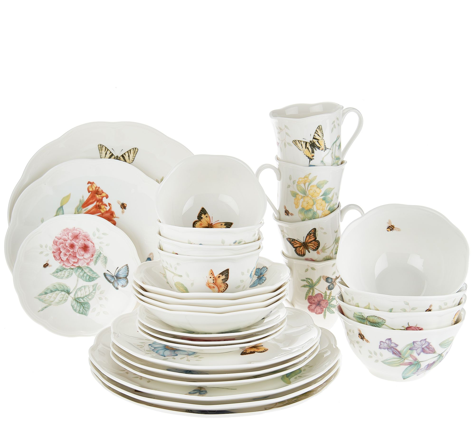 Lenox Butterfly Meadow 28-piece Porcelain Dinnerware Set - Page 1 \u2014 QVC.com  sc 1 st  QVC.com & Lenox Butterfly Meadow 28-piece Porcelain Dinnerware Set - Page 1 ...