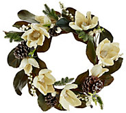 As Is 18 Glittered Magnolia, Pinecone & Berry Wreath - H208457