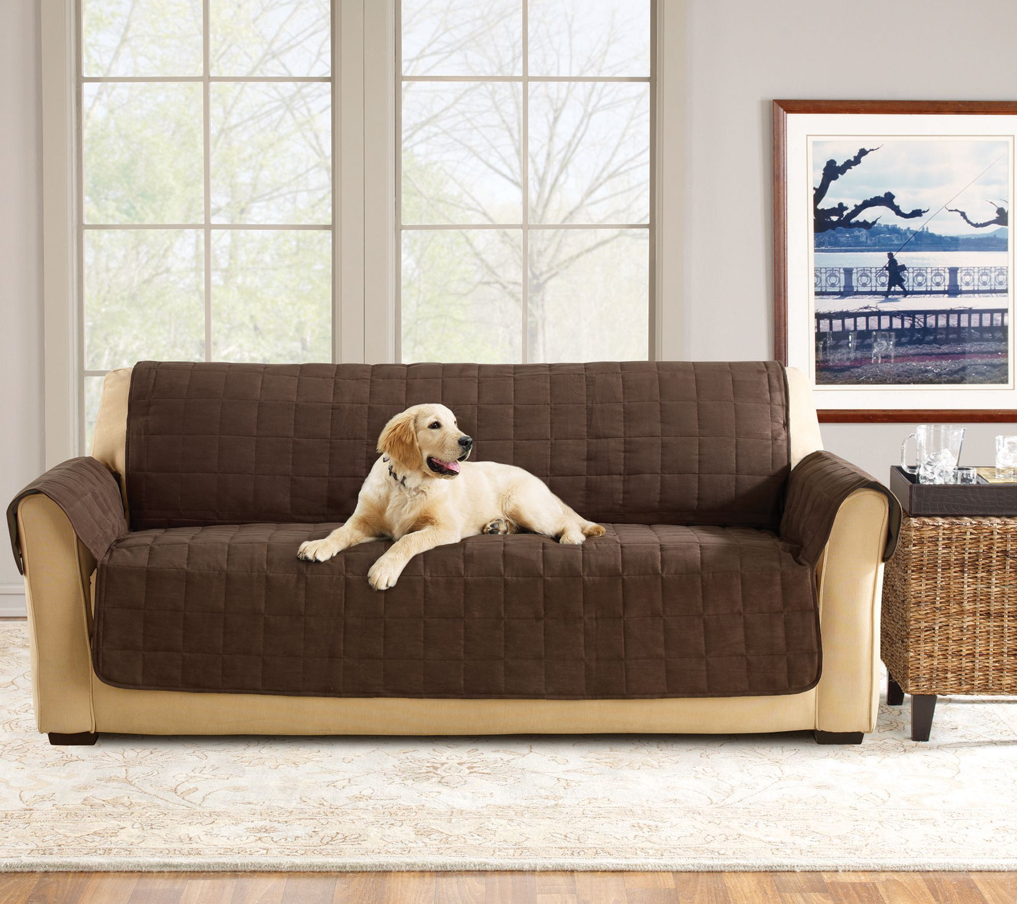 Sure Fit Furniture Cover Sofa with Memory Foam Seat Page 1 — QVC