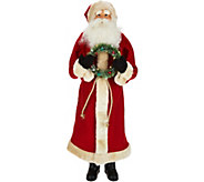 25 Oversized Santa Figurine with Holiday Bottlebrush Wreath - H211857