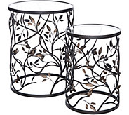 Indoor/ Outdoor 2pc Metal Bird & Vine Tables w/ Glass Top by Valerie - H213557