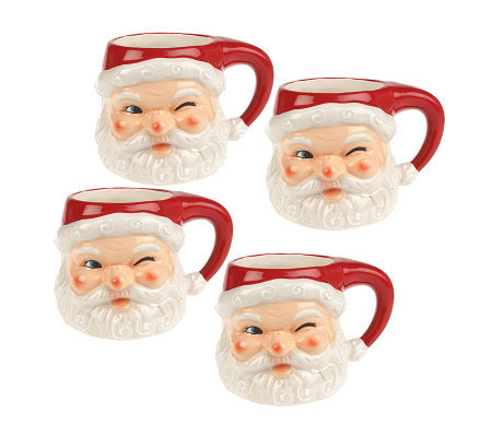 Set of 4 Handpainted Vintage Style Winking Santa Head Mugs