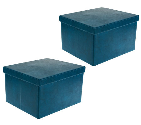 S 2 Large Collapsible Faux Leather Storage Boxes By