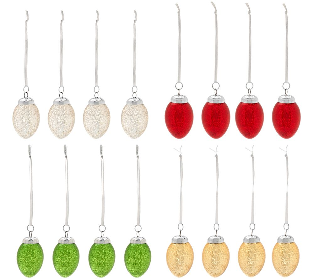 Set of 12 Mercury Glass Eggs with Hangers by Valerie