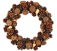 ED On Air Natural Rustic 17 Pinceone Wreath by Ellen DeGeneres - H206258