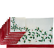 Lenox Holiday 60 x 104 Water Repel Table Cloth w/ 8 Napkins - H210458