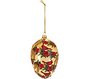 Joan Rivers 6 Handpainted Cardinal Egg Ornament with Satin Box - H211458