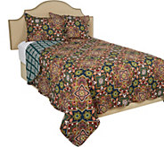 Home Resort F/Q Geometric Floral 100Cotton Quilt with Shams - H212658