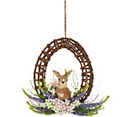 15 Egg Shaped Vine Wreath w/ Bunny Accent by Valerie - H213758