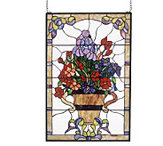 Meyda Tiffany Style Floral Arrangement Window Panel - H123559