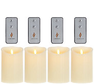 Set of 4 Luminara 5 Flameless Ivory Candles with 4 Remotes - H205859