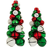 As Is Dennis Basso Set of 2 Jingle Bell Christmas Trees - H210359