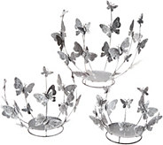 Set of 3 Graduated Butterfly Sphere Holders by Valerie - H214059