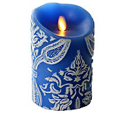 Luminara Damask Embossed 5 Flameless Blue Candle w/ Timer - H282259