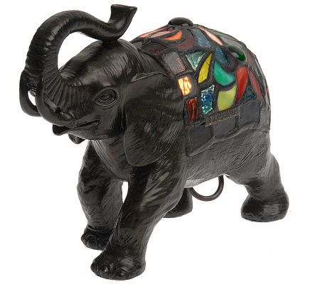 J J Peng Stained Glass Elephant Accent Lamp Page 1