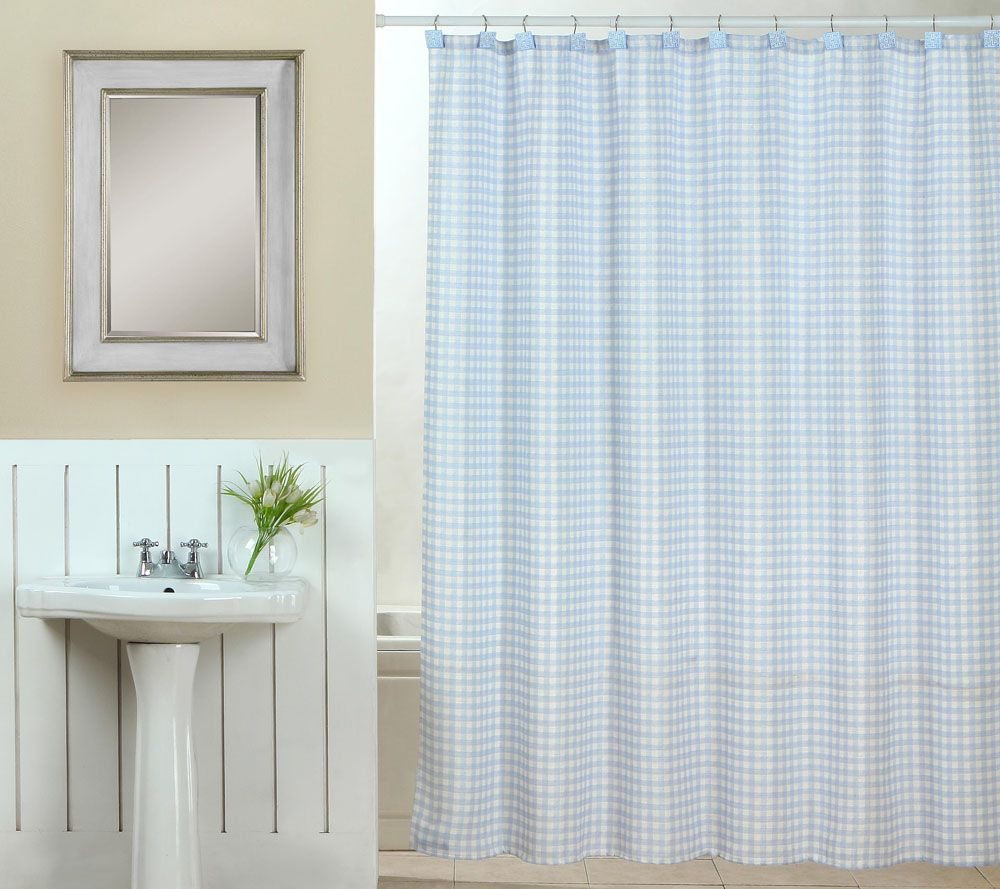 Superb Tim Gunn Collection Gingham Shower Curtain Set With Hooks   Page 1 U2014 QVC.com
