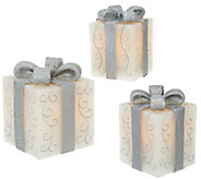 As Is Set of 3 Illuminated Wax Gifts with Bows by Valerie - H208260