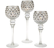 As Is S/3 Illuminated Honeycomb Footed Goblets by Valerie - H209160
