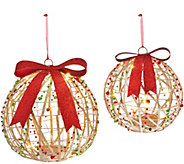 As Is Dennis Basso Set of 2 Lit Glittered Spheres or Presents - H210360
