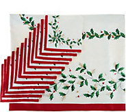 Lenox Holiday 60 x 140 Water Repel Table Cloth w/ 12 Napkins - H210460