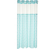 EZ ON by Hookless Ogee Print Design Shower Curtain with Liner - H212960