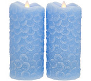 Candle Impressions S/2 Mirage Gold 7 Carved Floral Pillars - H214760