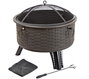 Pure Garden 26 Round Woven Metal Fire Pit withCover - H290760