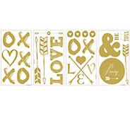 RoomMates Goldtone Love and Arrows Peel & StickWall Decals - H291160