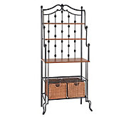Lane Black Bakers Rack with Storage Baskets - H160961