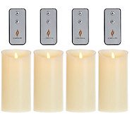 Set of 4 Luminara 7 Flameless Ivory Candles with 4 Remotes - H205861