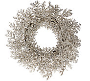 20 Glittered Leaf and Cedar Wreath - H206661