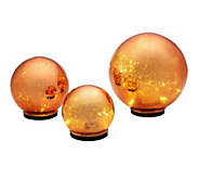 Ship 10/28 S/3 Indoor/Outdoor Mercury Glass Spheres w/Timer by Valerie - H211061