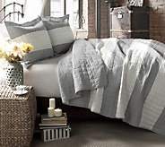 Berlin Stripe Quilts Gray 3-Piece Full/Queen Set by Lush Decor - H287461