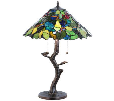 Meyda Tiffany Style Grape Harvest Apple Tree Table Lamp