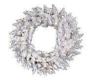 24 White Sparkle Spruce Wreath w/ LED - H364661