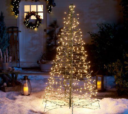 Pre-Lit 5' Fold Flat Outdoor Christmas Tree by Lori Greiner — QVC.com