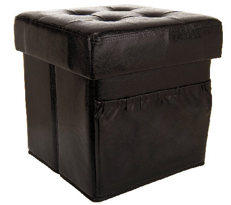 Faux Leather Tufted Ottoman w/ Side Pocket & Printed Tray by Valerie