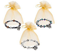 Set of 3 Prayer Box Bracelets with Gift Bags by Valerie - H201462