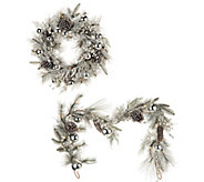 Illuminated Festive Wreath or Garland with Ornaments - H203462