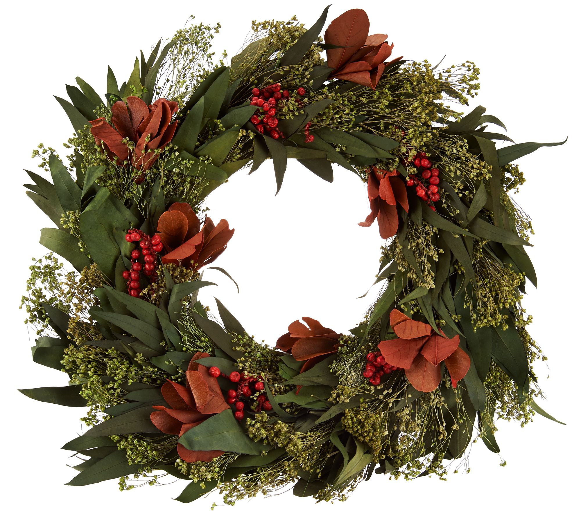 ed on air seasonal outdoor home decorations qvc com ed on air magnolia and berry preserved wreath by ellen degeneres h209662