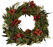 ED On Air Magnolia and Berry Preserved Wreath by Ellen DeGeneres - H209662