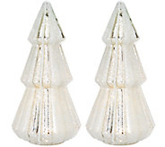As Is Set of2 12 Illuminated Mercury Glass Trees by Valerie - H210262