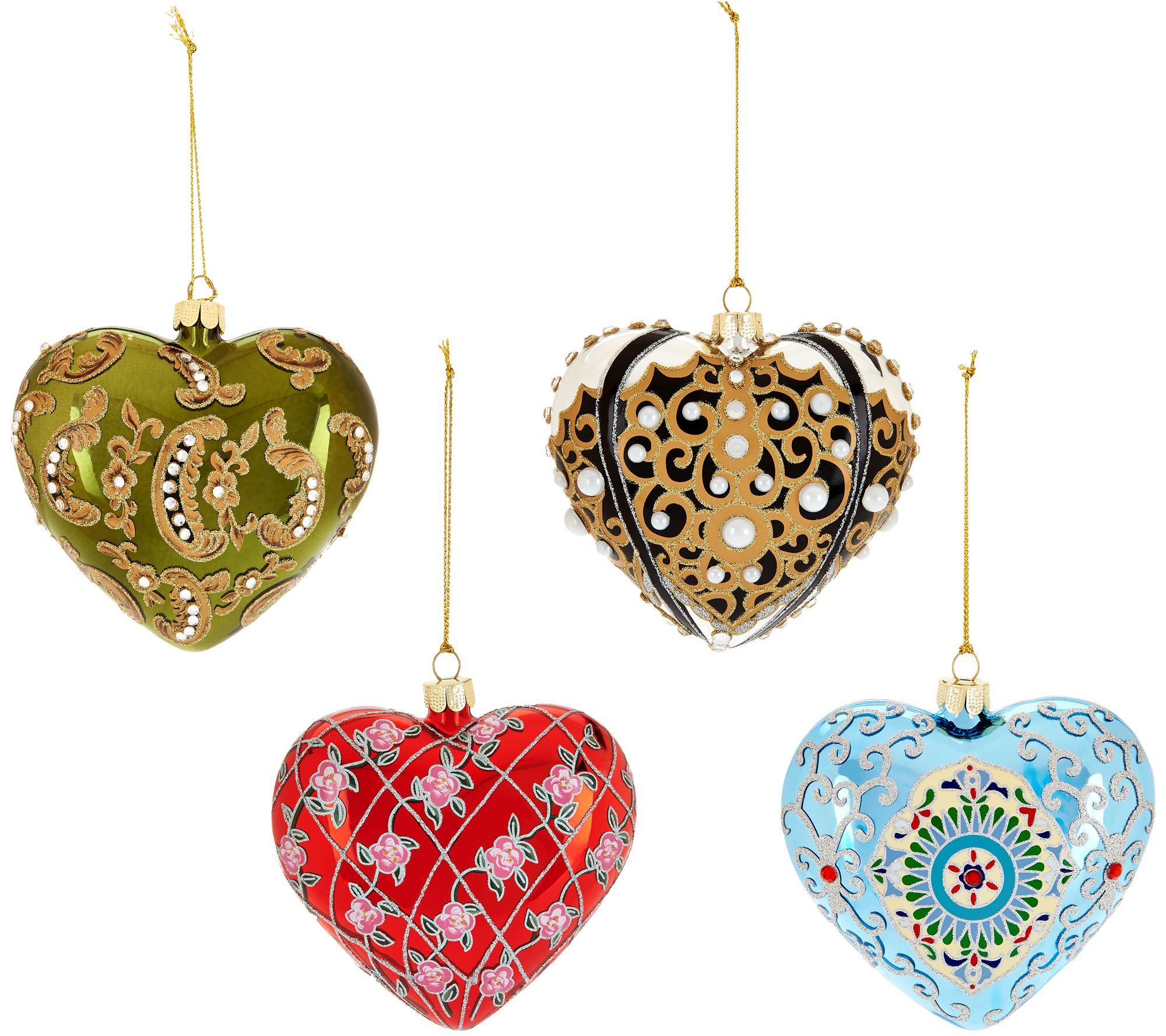"""""""As Is"""" Joan Rivers 2016 Set Of 4 Russian Inspired Heart"""