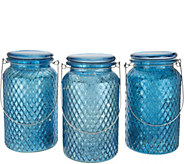 Set of 3 Illuminated Lattice Glass Jar w/ Hanger by Valerie - H213562