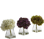 Set of 3 Hydrangeas in Vases by Nearly Natural - H292162