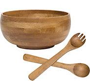 Lipper Oak Footed Large Bowl Salad Set - H292462