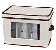 Household Essentials Flute Storage Stemware Chest/Canvas - H157263