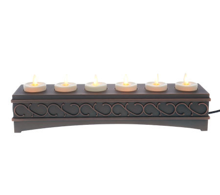 Luminara Set of 6 Rechargeable Votives with Decorative Base
