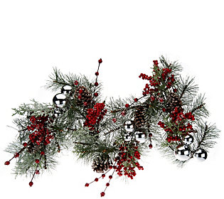"""24"""" Iced Pine w/ Berries Wreath or 4' Garland by Valerie"""