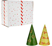 Temp-tations Set of 2 7 Lit Cone Trees with Gift Boxes - H205963